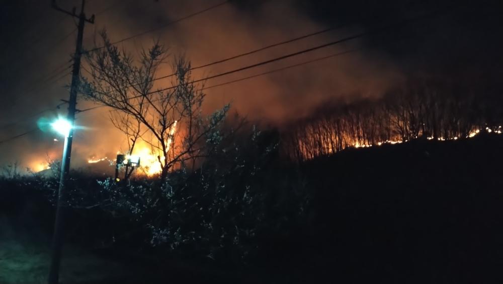 大岩山毘沙門天本坊からみた足利市の山火事