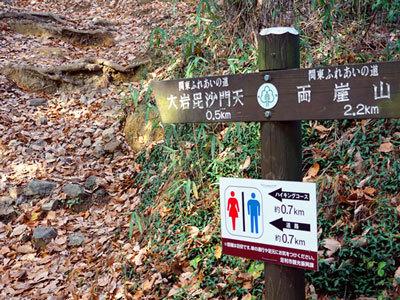 大岩山のハイキングコースの案内