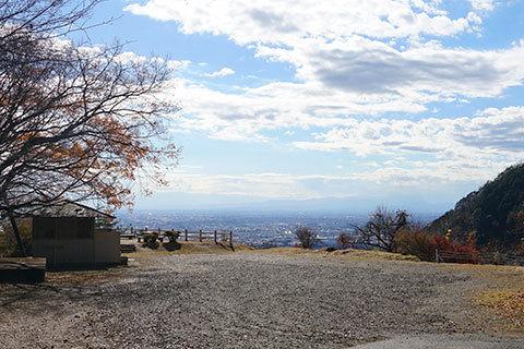 大岩山西公園の駐車場等の様子と景観