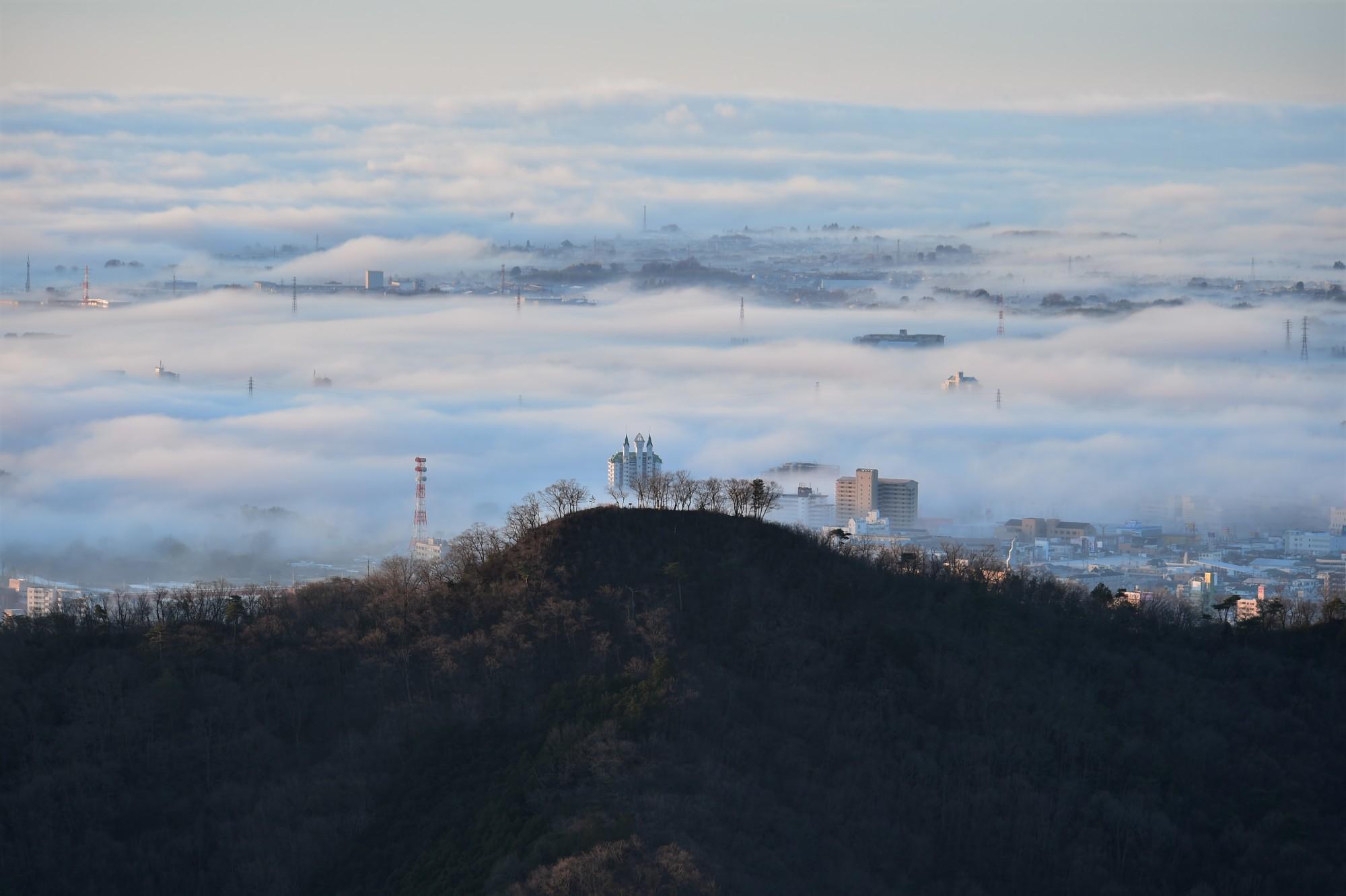 関東の霊山大岩山から見た関東平野の雲海