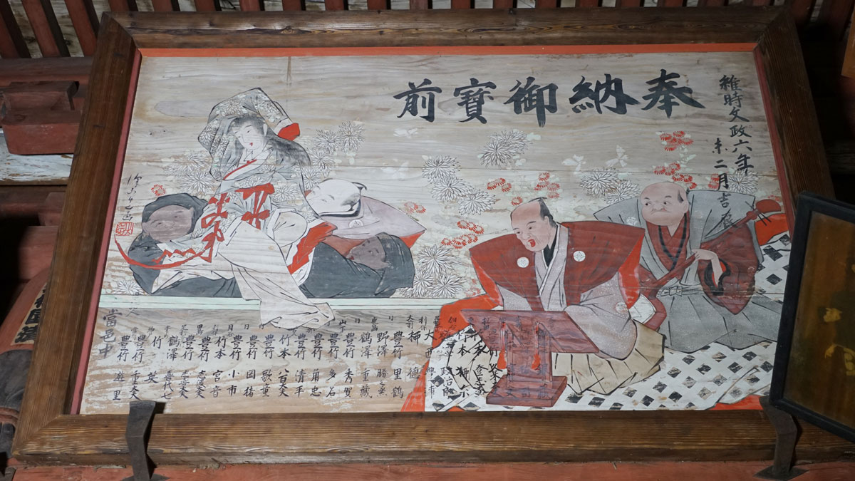 毘沙門天本堂外陣東側の人形浄瑠璃図の奉納額