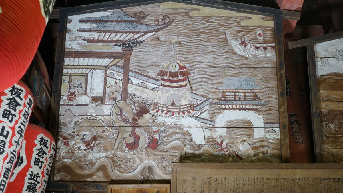 西洋透視図法を用いた竜宮玉取り図の絵馬