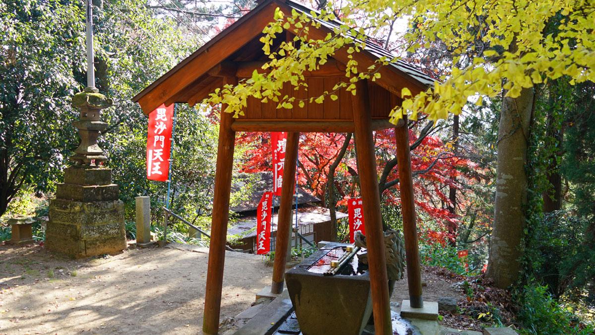 大岩山毘沙門天本堂手水場の前の紅葉風景写真